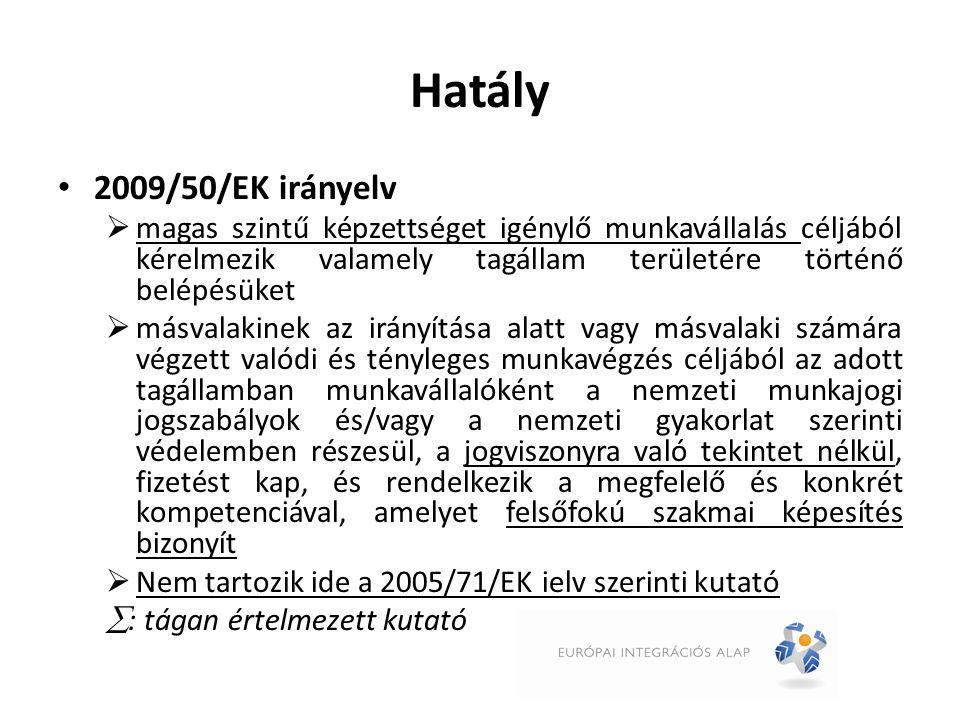 Alanyok 2005/71/EK irányelv  Kutató  Kutató szervezet, mint foglalkoztató (kulcsszereplő) Kutató szervezet kötelezettségei:  E célra előzetes akkreditálás  Írásbeli pénzügyi kötelezettségvállalás túltartózkodásra (opció)  Jelentési kötelezettség kutatás végén (opció)  Szankció: 5 évig eltiltás + Kék Kártya elutasítás + egyéb szankció 2009/50/EK irányelv  Magasan képzett munkavállaló  Foglalkoztató