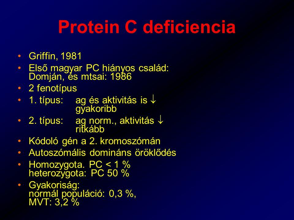 Protein C deficiencia Griffin, 1981 Első magyar PC hiányos család: Domján, és mtsai: 1986 2 fenotípus 1.