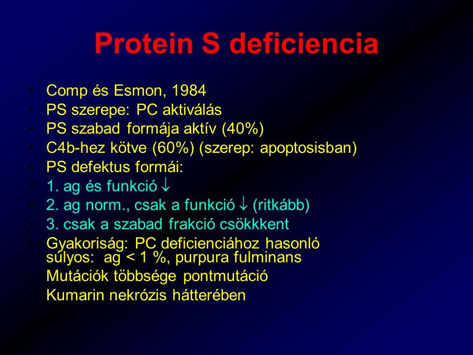 Protein S deficiencia Comp és Esmon, 1984 PS szerepe: PC aktiválás PS szabad formája aktív (40%) C4b-hez kötve (60%) (szerep: apoptosisban) PS defektus formái: 1.