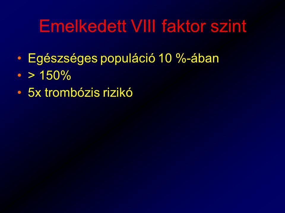 Emelkedett VIII faktor szint Egészséges populáció 10 %-ában > 150% 5x trombózis rizikó