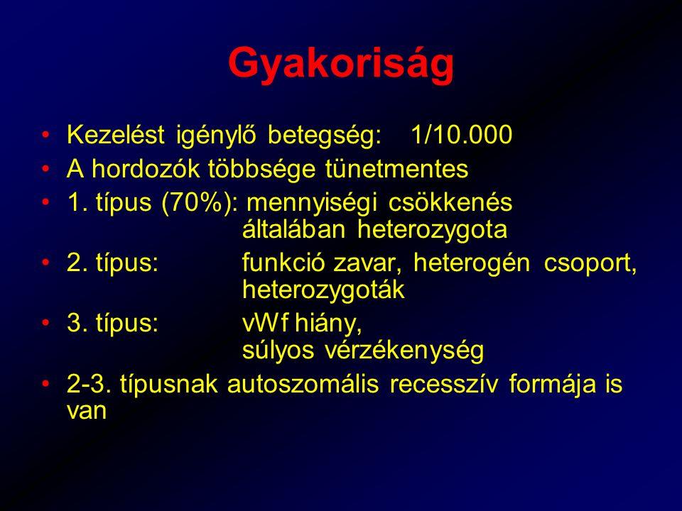 Gyakoriság Kezelést igénylő betegség:1/10.000 A hordozók többsége tünetmentes 1.