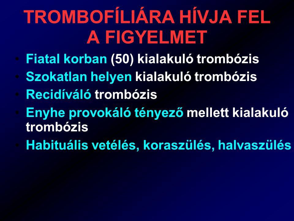 ÖRÖKLETES TROMBOFÍLIÁK genetikai hiba Családi halmozódás Általában vénás trombózisok gyakorisága nő meg Gyakori eltérések enyhe trombózis hajlammal járnak Ritkábbak súlyosabbal