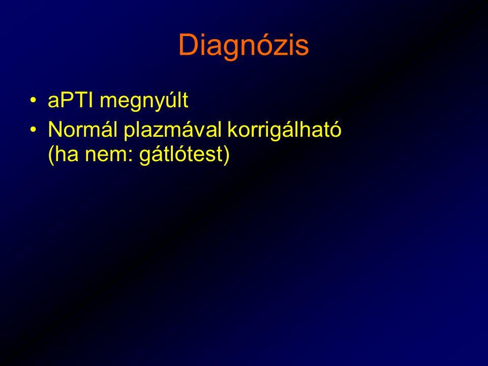 Diagnózis aPTI megnyúlt Normál plazmával korrigálható (ha nem: gátlótest)