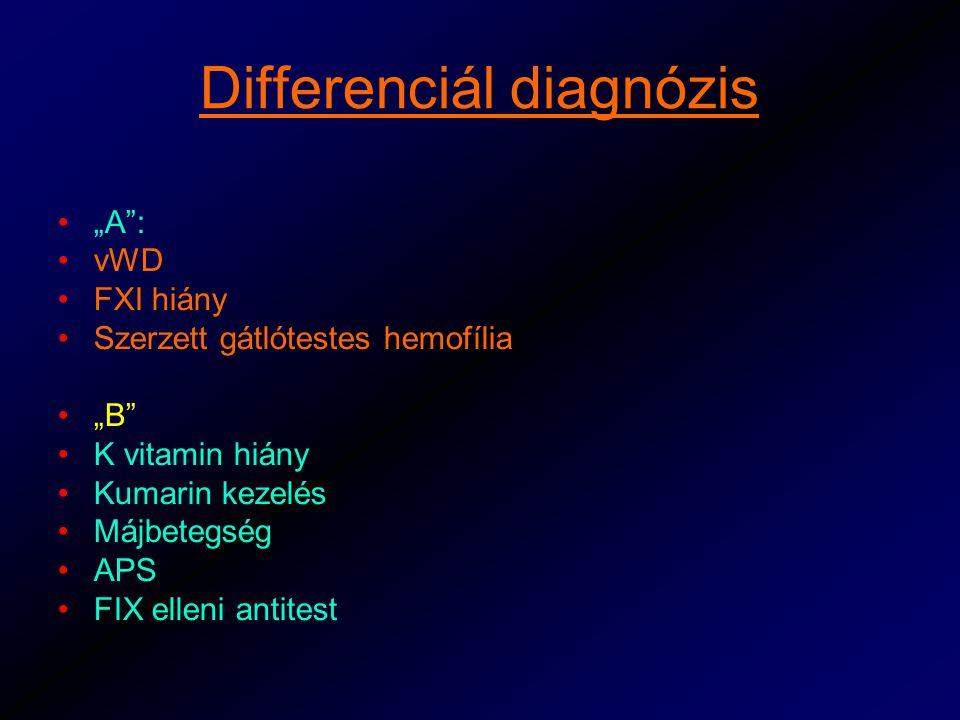 """Differenciál diagnózis """"A : vWD FXI hiány Szerzett gátlótestes hemofília """"B K vitamin hiány Kumarin kezelés Májbetegség APS FIX elleni antitest"""