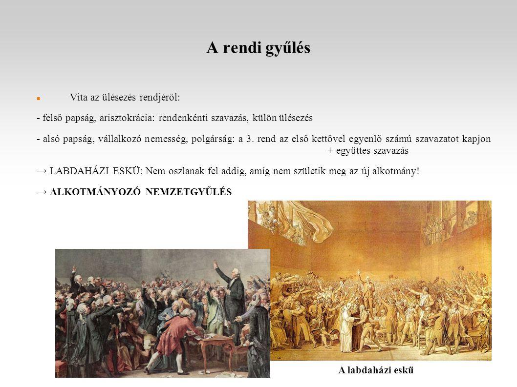 A rendi gyűlés Vita az ülésezés rendjéről: - felső papság, arisztokrácia: rendenkénti szavazás, külön ülésezés - alsó papság, vállalkozó nemesség, polgárság: a 3.