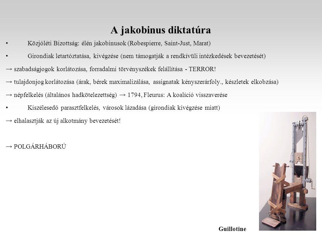 A jakobinus diktatúra Közjóléti Bizottság: élén jakobinusok (Robespierre, Saint-Just, Marat) Girondiak letartóztatása, kivégzése (nem támogatják a rendkívüli intézkedések bevezetését) → szabadságjogok korlátozása, forradalmi törvényszékek felállítása - TERROR.