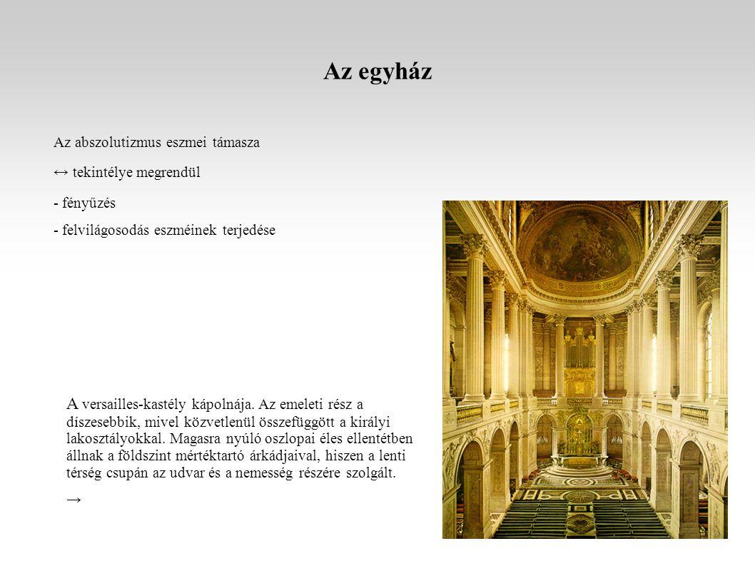 Az egyház Az abszolutizmus eszmei támasza ↔ tekintélye megrendül - fényűzés - felvilágosodás eszméinek terjedése A versailles-kastély kápolnája.