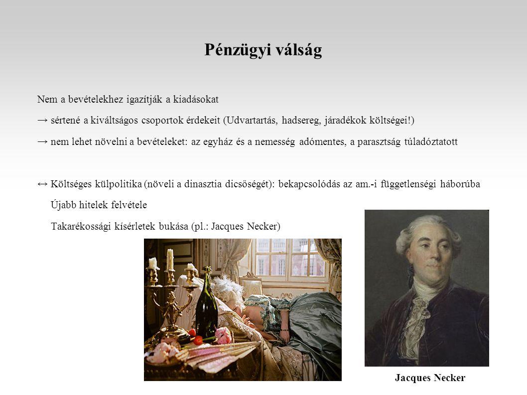 A rendi mozgalom A felvilágosodás eszméinek és az alkotmányosság igényének terjedése a főnemesség egyes rangos képviselőinek körében (pl.: az orleans-i herceg, La Fayette, Mirabeau) Megmozdulások a rendi jogokért néhány tartományban (katonai beavatkozás nélkül) Követelések: - konzervatív arisztokrácia, egyház: rendi monarchia - haladó arisztokrácia, vállalkozó nemesség, polgárság: alkotmányos monarchia, jogegyenlőség → pénzügyi csőd, rossz termésű évek, éhínség: a király elhatározza a RENDI GYŰLÉS összehívását → 1789, tavasz: rendi gyűlési választások (nagy politikai aktivitás, panaszfüzetek) La Fayette Mirabeau