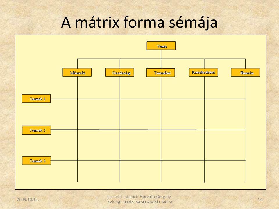 A mátrix forma sémája 2009.10.12. Fornetti csoport: Horváth Gergely, Schlőgl László, Seres András Bálint 14