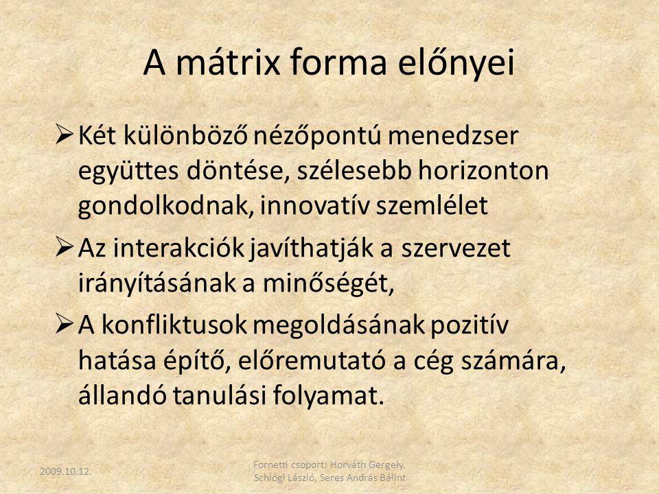 A mátrix forma előnyei  Két különböző nézőpontú menedzser együttes döntése, szélesebb horizonton gondolkodnak, innovatív szemlélet  Az interakciók j