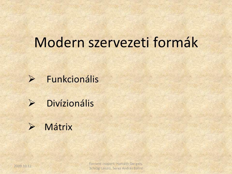  Funkcionális Modern szervezeti formák  Divízionális  Mátrix 2009.10.12. Fornetti csoport: Horváth Gergely, Schlőgl László, Seres András Bálint