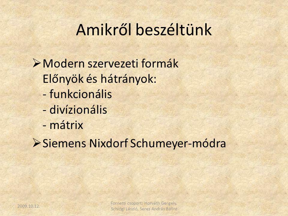 Amikről beszéltünk  Modern szervezeti formák Előnyök és hátrányok: - funkcionális - divízionális - mátrix  Siemens Nixdorf Schumeyer-módra 2009.10.1