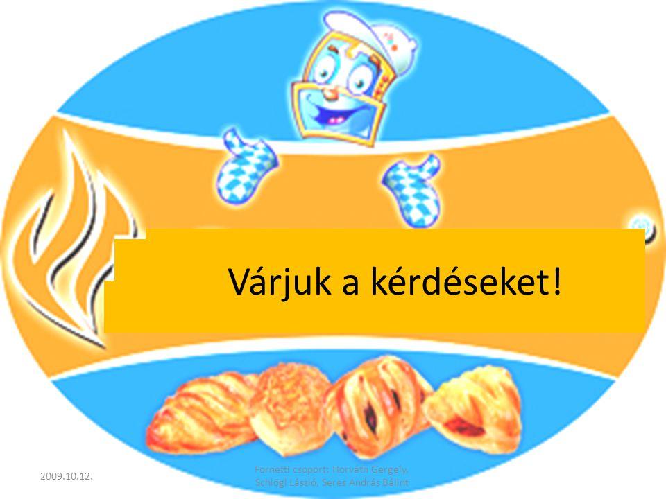 Várjuk a kérdéseket! 2009.10.12. Fornetti csoport: Horváth Gergely, Schlőgl László, Seres András Bálint