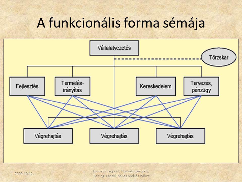 A funkcionális forma jellemzői  elsődleges megosztás, funkció szerint  erőteljes szabályozottság  a döntés centralizált, szabályozott  technoratikus eszközzel koordinál  vertikális ill.