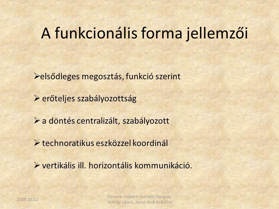 A funkcionális forma jellemzői  elsődleges megosztás, funkció szerint  erőteljes szabályozottság  a döntés centralizált, szabályozott  technoratik