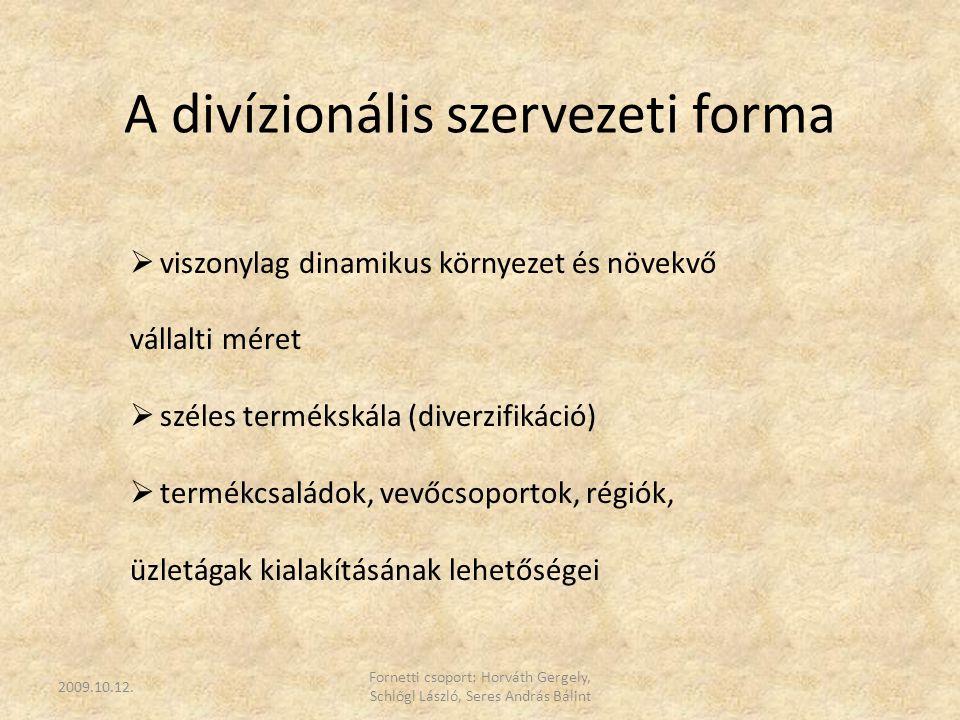 A divízionális szervezeti forma  viszonylag dinamikus környezet és növekvő vállalti méret  széles termékskála (diverzifikáció)  termékcsaládok, vev