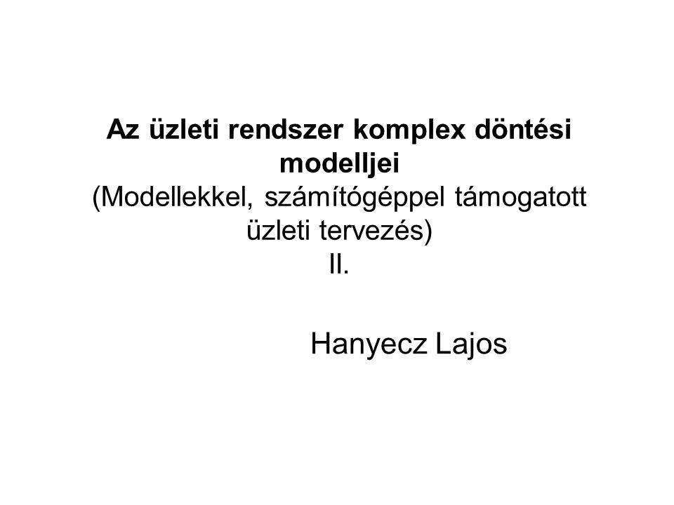 Az üzleti rendszer komplex döntési modelljei (Modellekkel, számítógéppel támogatott üzleti tervezés) II.