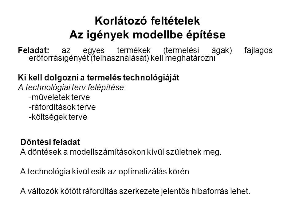 Korlátozó feltételek Az igények modellbe építése Feladat: az egyes termékek (termelési ágak) fajlagos erőforrásigényét (felhasználását) kell meghatározni Ki kell dolgozni a termelés technológiáját A technológiai terv felépítése: -műveletek terve -ráfordítások terve -költségek terve Döntési feladat A döntések a modellszámításokon kívül születnek meg.