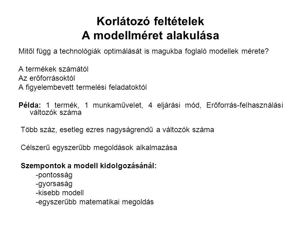 Korlátozó feltételek A modellméret alakulása Mitől függ a technológiák optimálását is magukba foglaló modellek mérete.