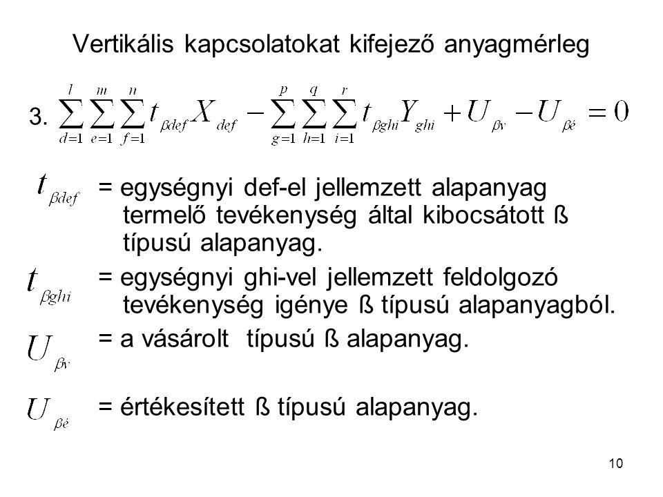 10 Vertikális kapcsolatokat kifejező anyagmérleg = egységnyi def-el jellemzett alapanyag termelő tevékenység által kibocsátott ß típusú alapanyag.