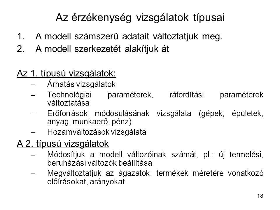 18 Az érzékenység vizsgálatok típusai 1.A modell számszerű adatait változtatjuk meg.