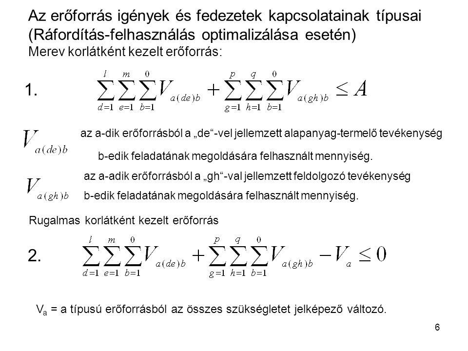 """6 Az erőforrás igények és fedezetek kapcsolatainak típusai (Ráfordítás-felhasználás optimalizálása esetén) Merev korlátként kezelt erőforrás: az a-adik erőforrásból a """"gh -val jellemzett feldolgozó tevékenység b-edik feladatának megoldására felhasznált mennyiség."""