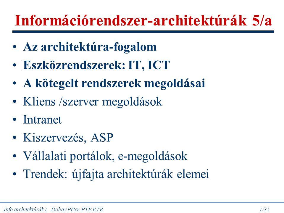 Info architektúrák I. Dobay Péter, PTE KTK 1/35 Információrendszer-architektúrák 5/a Az architektúra-fogalom Eszközrendszerek: IT, ICT A kötegelt rend