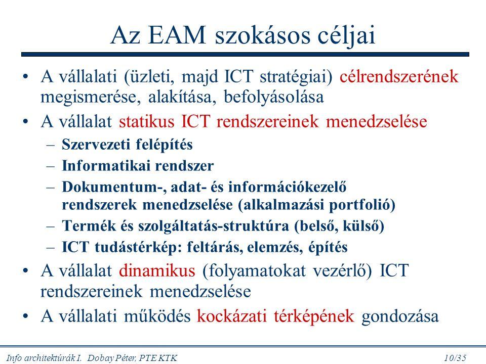 Info architektúrák I. Dobay Péter, PTE KTK 10/35 Az EAM szokásos céljai A vállalati (üzleti, majd ICT stratégiai) célrendszerének megismerése, alakítá