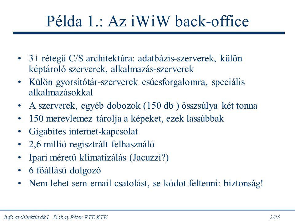 Info architektúrák I. Dobay Péter, PTE KTK 2/35 Példa 1.: Az iWiW back-office 3+ rétegű C/S architektúra: adatbázis-szerverek, külön képtároló szerver