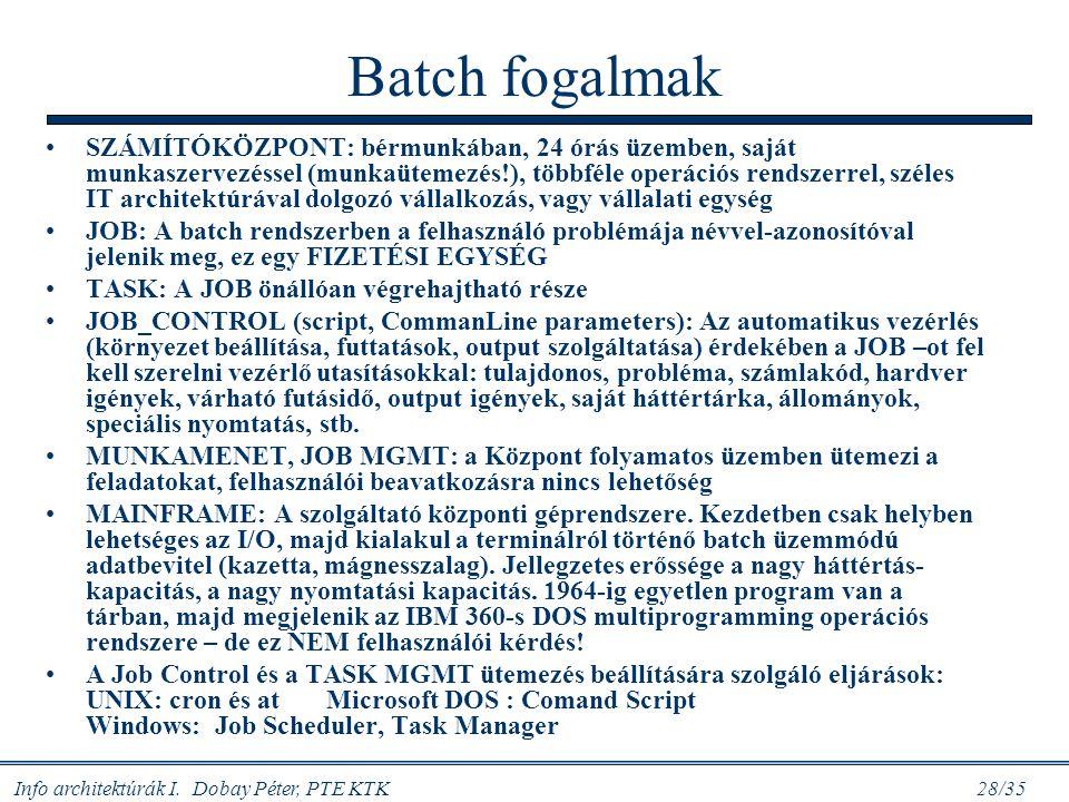 Info architektúrák I. Dobay Péter, PTE KTK 28/35 Batch fogalmak SZÁMÍTÓKÖZPONT: bérmunkában, 24 órás üzemben, saját munkaszervezéssel (munkaütemezés!)