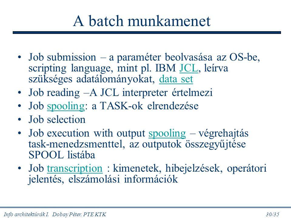 Info architektúrák I. Dobay Péter, PTE KTK 30/35 A batch munkamenet Job submission – a paraméter beolvasása az OS-be, scripting language, mint pl. IBM