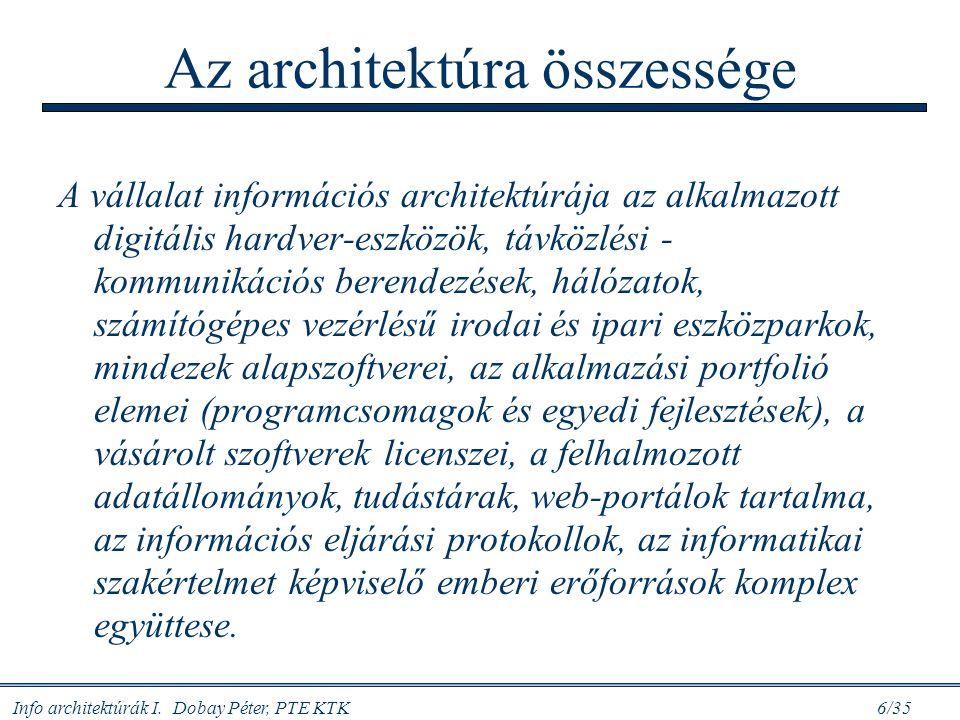 Info architektúrák I. Dobay Péter, PTE KTK 6/35 Az architektúra összessége A vállalat információs architektúrája az alkalmazott digitális hardver-eszk