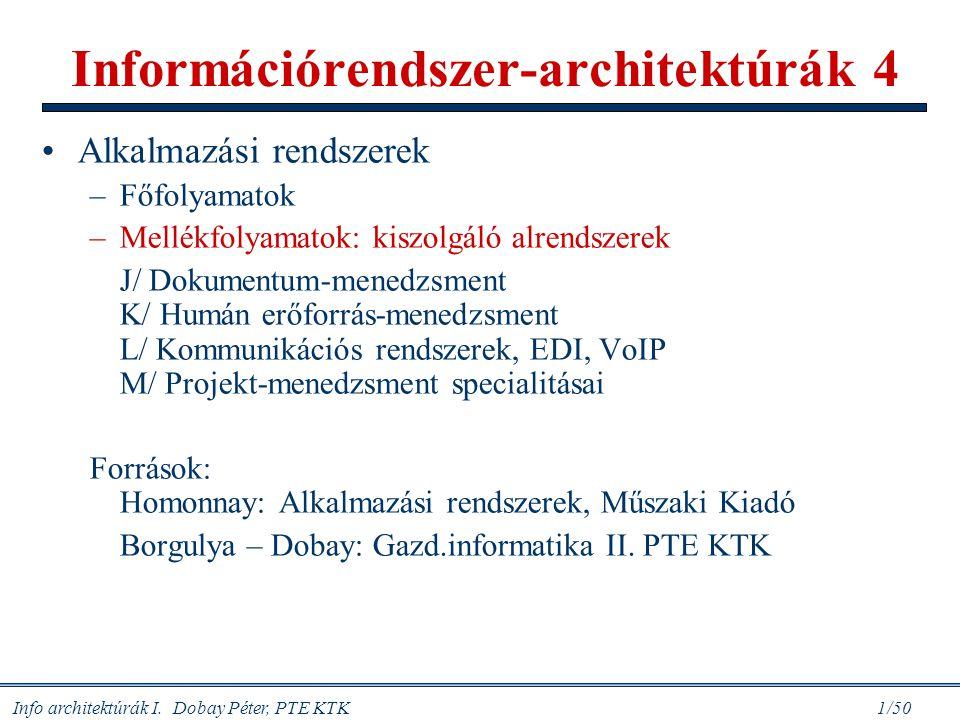 Info architektúrák I. Dobay Péter, PTE KTK 1/50 Információrendszer-architektúrák 4 Alkalmazási rendszerek –Főfolyamatok –Mellékfolyamatok: kiszolgáló