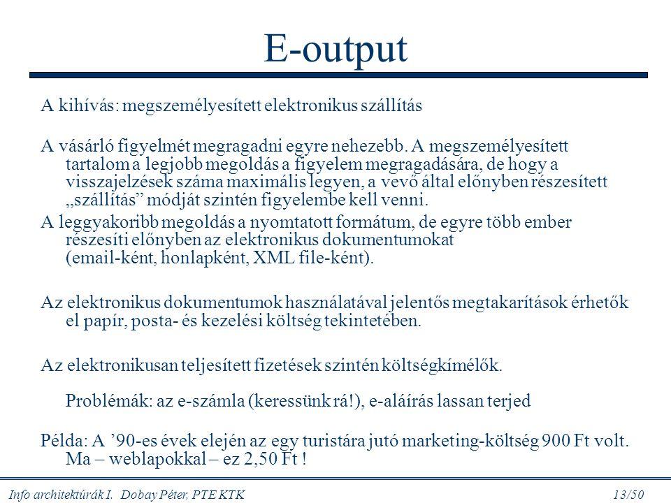 Info architektúrák I. Dobay Péter, PTE KTK 13/50 E-output A kihívás: megszemélyesített elektronikus szállítás A vásárló figyelmét megragadni egyre neh
