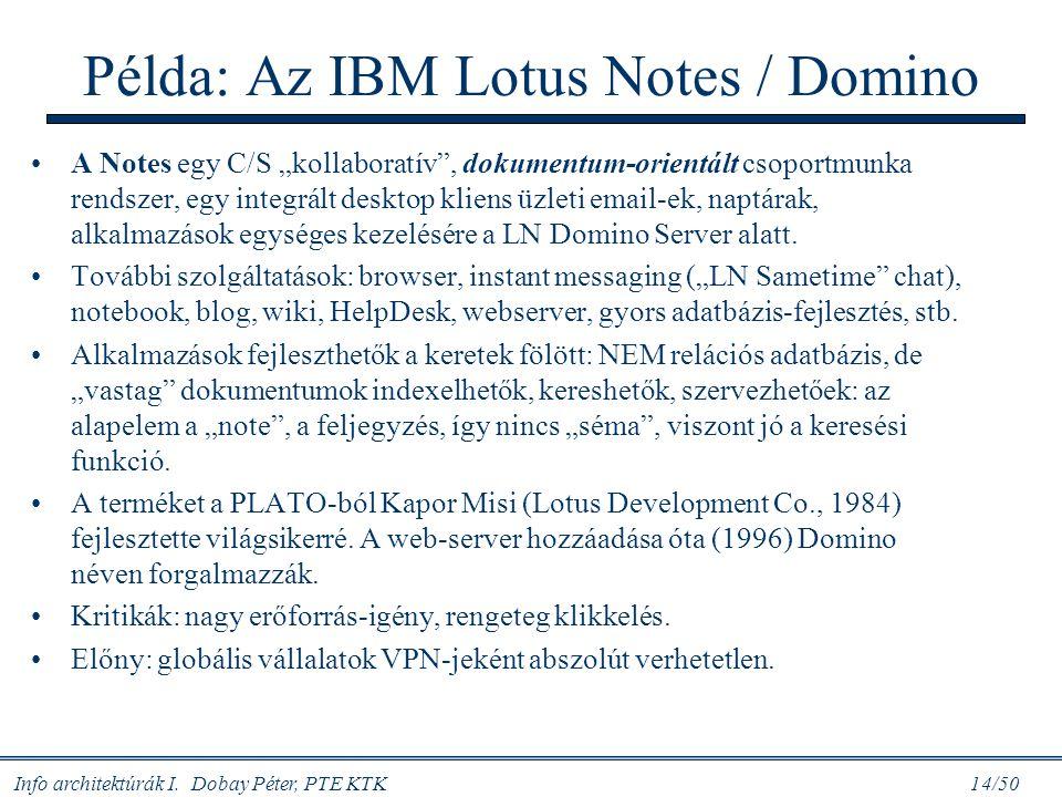 """Info architektúrák I. Dobay Péter, PTE KTK 14/50 Példa: Az IBM Lotus Notes / Domino A Notes egy C/S """"kollaboratív"""", dokumentum-orientált csoportmunka"""