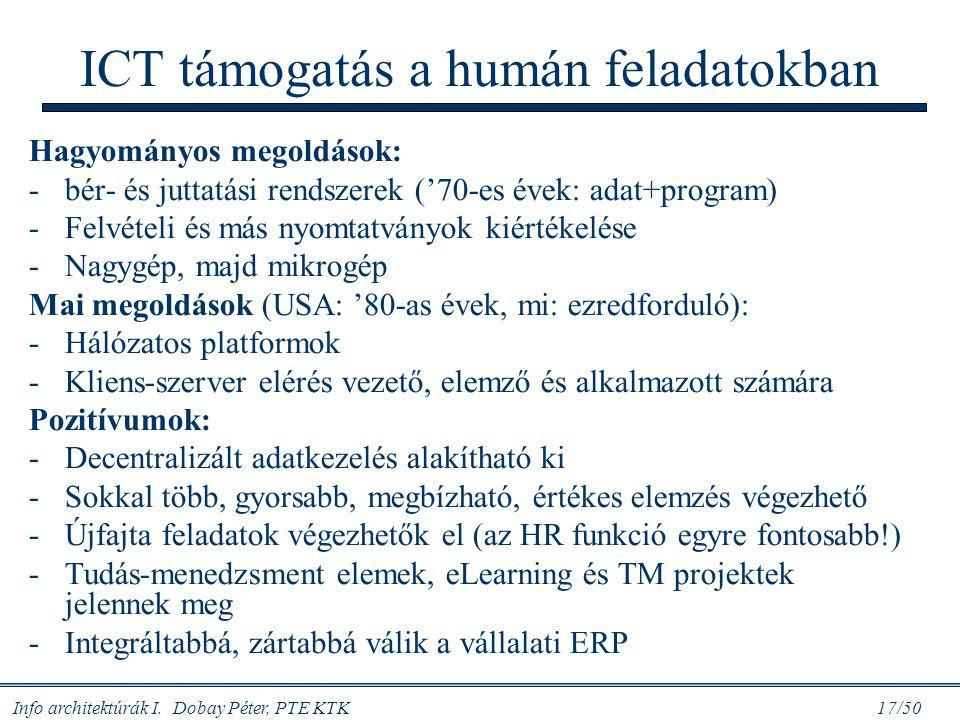 Info architektúrák I. Dobay Péter, PTE KTK 17/50 ICT támogatás a humán feladatokban Hagyományos megoldások: -bér- és juttatási rendszerek ('70-es évek