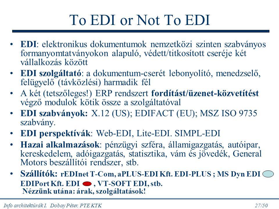 Info architektúrák I. Dobay Péter, PTE KTK 27/50 To EDI or Not To EDI EDI: elektronikus dokumentumok nemzetközi szinten szabványos formanyomtatványoko