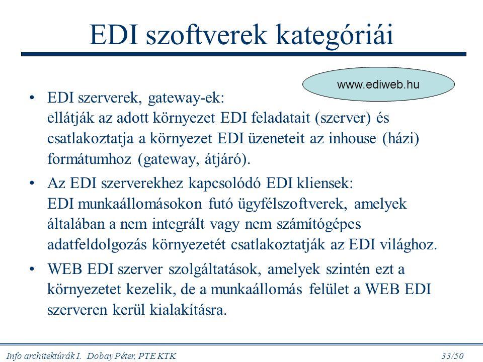 Info architektúrák I. Dobay Péter, PTE KTK 33/50 EDI szoftverek kategóriái EDI szerverek, gateway-ek: ellátják az adott környezet EDI feladatait (szer