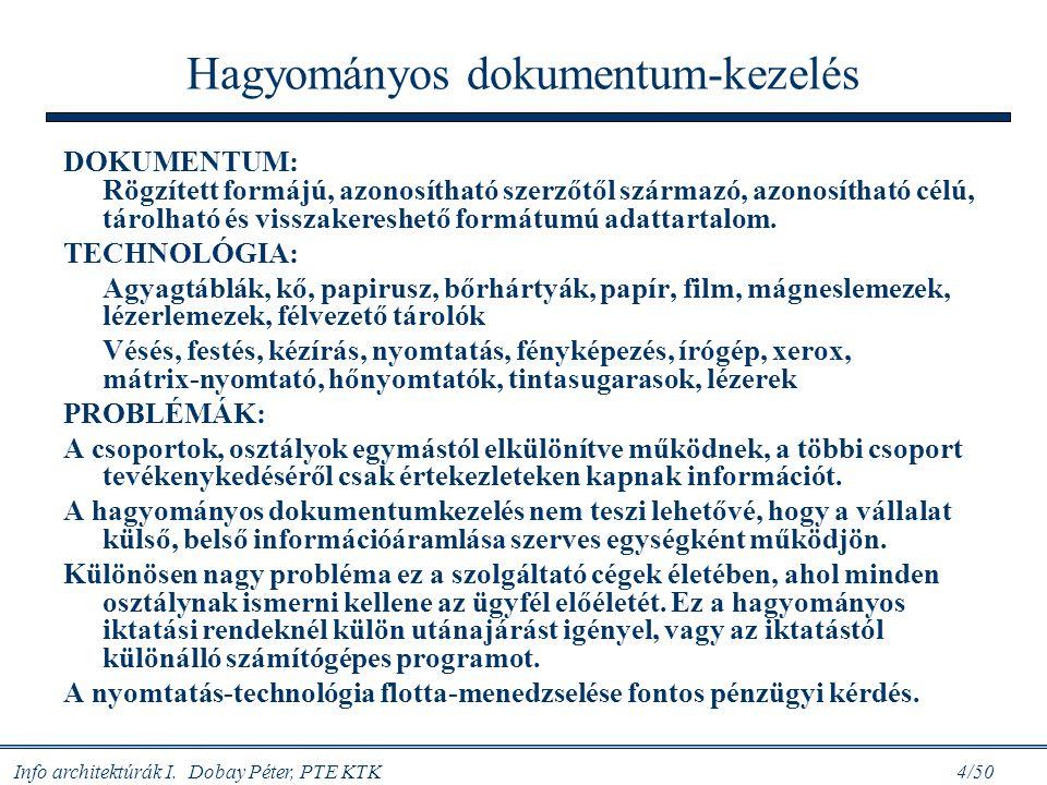 Info architektúrák I. Dobay Péter, PTE KTK 4/50 Hagyományos dokumentum-kezelés DOKUMENTUM: Rögzített formájú, azonosítható szerzőtől származó, azonosí