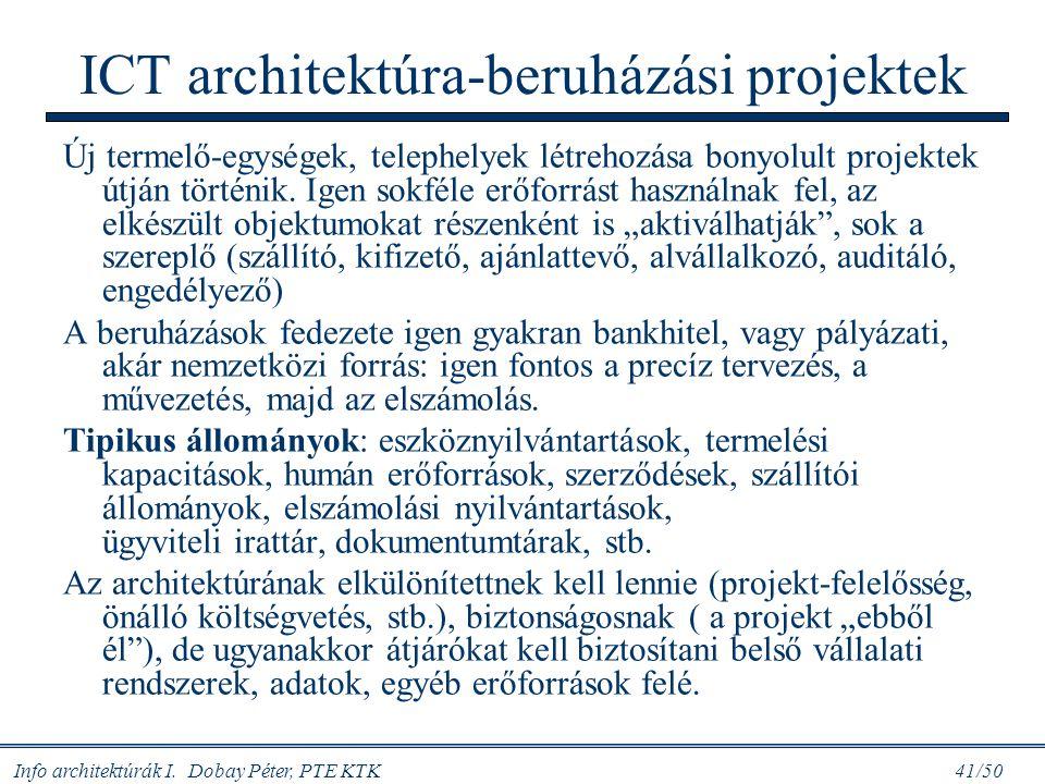 Info architektúrák I. Dobay Péter, PTE KTK 41/50 ICT architektúra-beruházási projektek Új termelő-egységek, telephelyek létrehozása bonyolult projekte