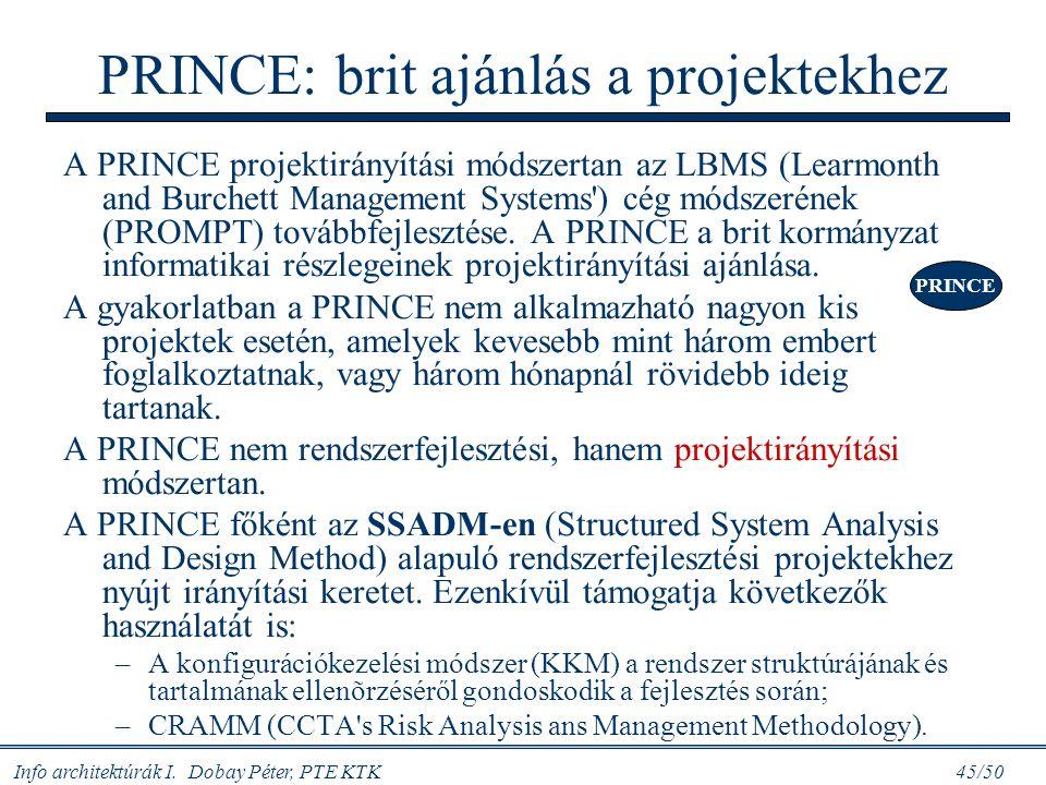 Info architektúrák I. Dobay Péter, PTE KTK 45/50 PRINCE: brit ajánlás a projektekhez A PRINCE projektirányítási módszertan az LBMS (Learmonth and Burc