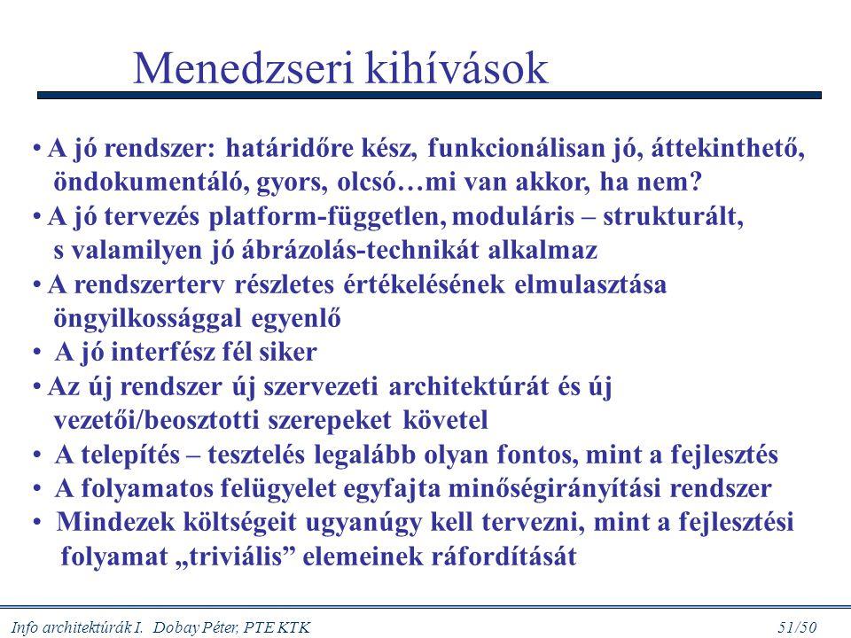 Info architektúrák I. Dobay Péter, PTE KTK 51/50 Menedzseri kihívások A jó rendszer: határidőre kész, funkcionálisan jó, áttekinthető, öndokumentáló,