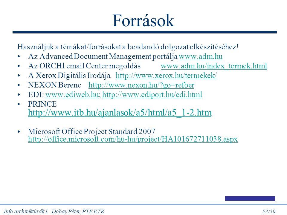 Info architektúrák I. Dobay Péter, PTE KTK 53/50 Források Használjuk a témákat/forrásokat a beadandó dolgozat elkészítéséhez! Az Advanced Document Man