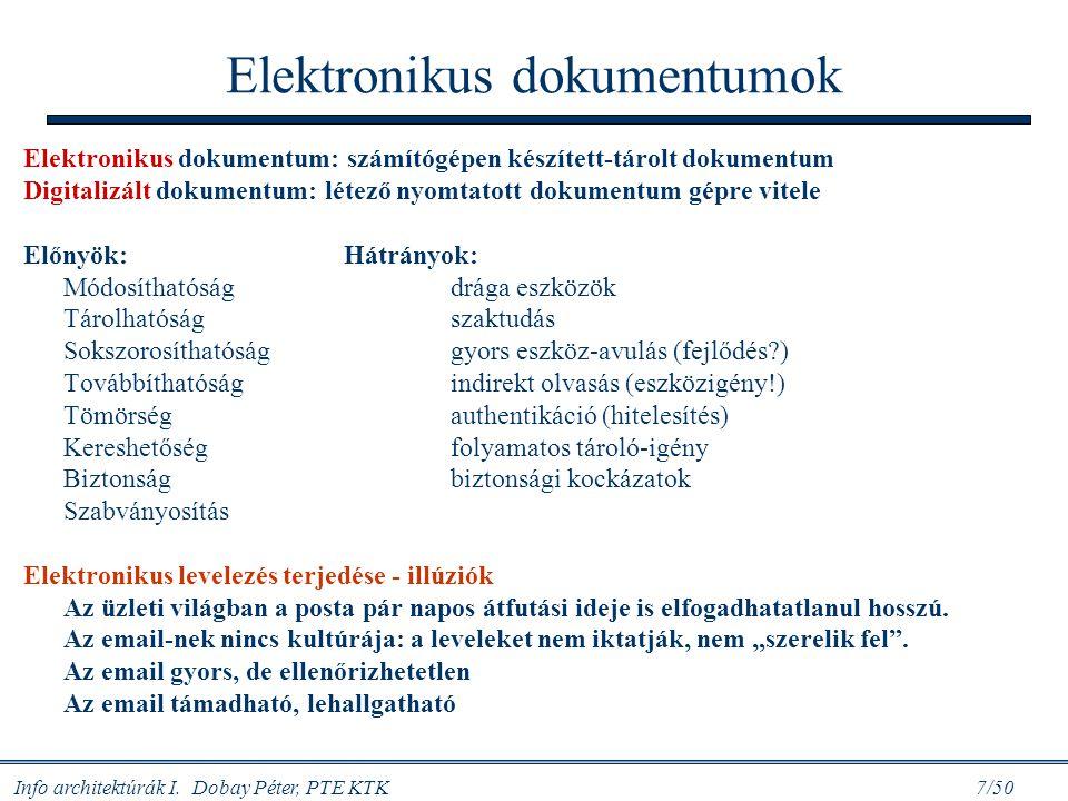 Info architektúrák I. Dobay Péter, PTE KTK 7/50 Elektronikus dokumentumok Elektronikus dokumentum: számítógépen készített-tárolt dokumentum Digitalizá