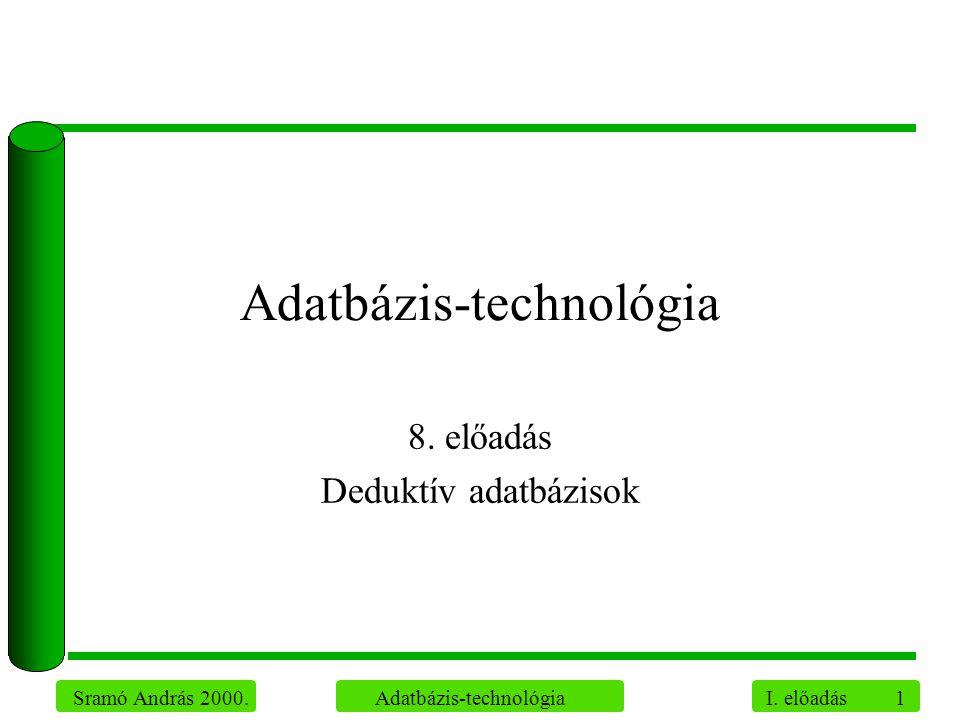 1 Sramó András 2000. Adatbázis-technológia I. előadás Adatbázis-technológia 8. előadás Deduktív adatbázisok