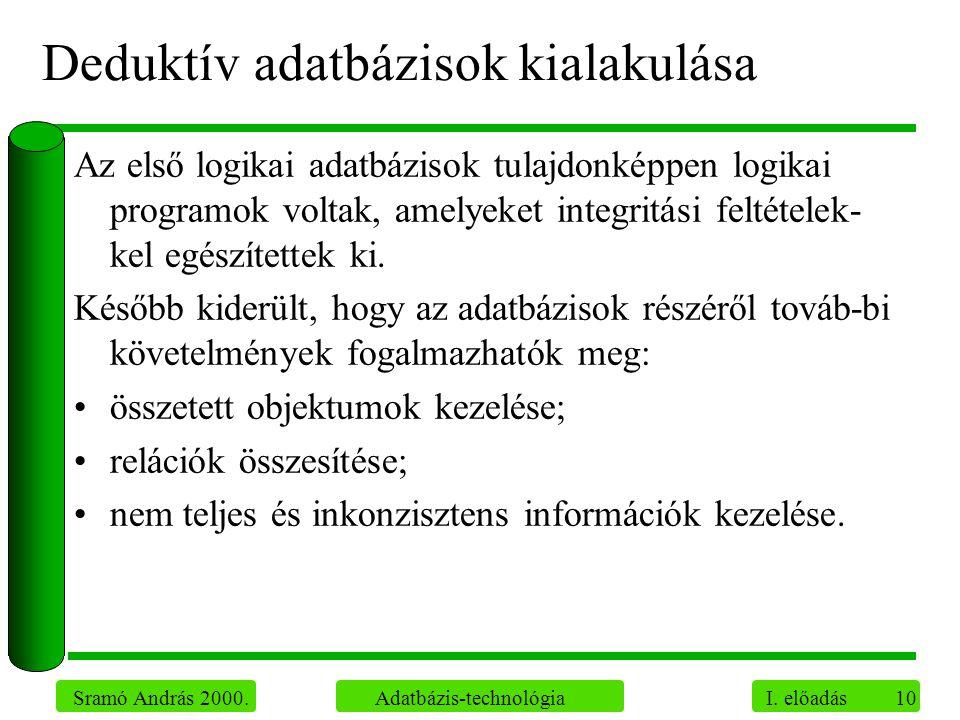 10 Sramó András 2000. Adatbázis-technológia I. előadás Deduktív adatbázisok kialakulása Az első logikai adatbázisok tulajdonképpen logikai programok v