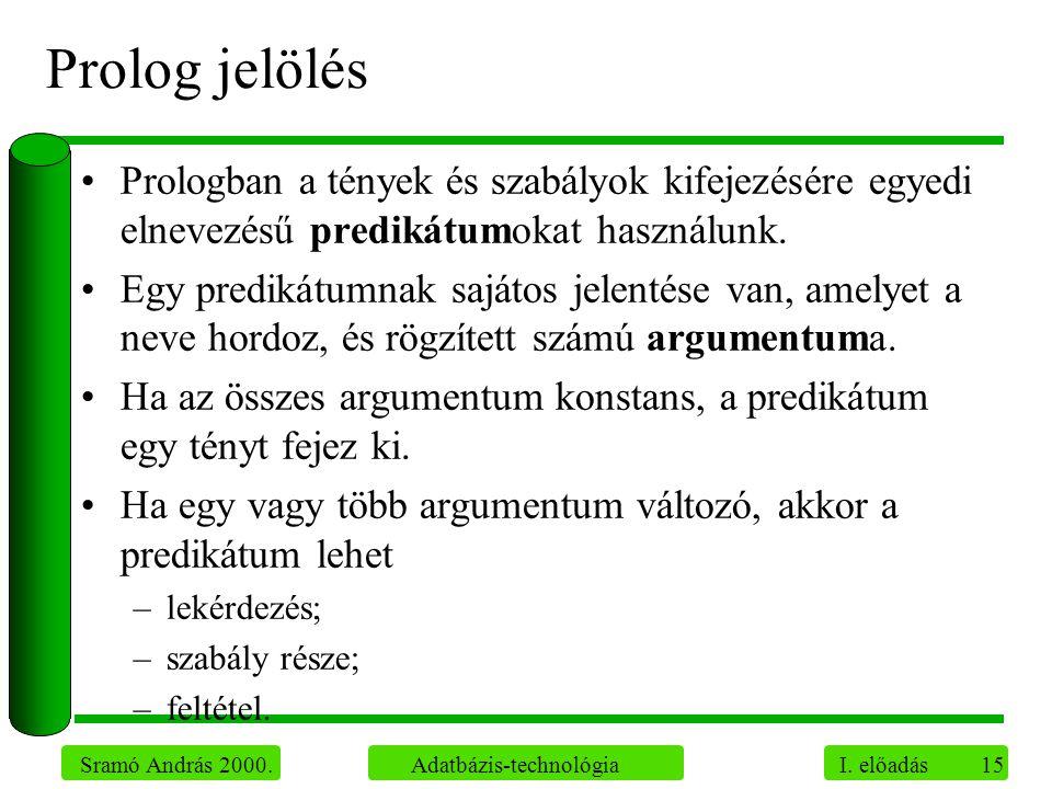 15 Sramó András 2000. Adatbázis-technológia I. előadás Prolog jelölés Prologban a tények és szabályok kifejezésére egyedi elnevezésű predikátumokat ha