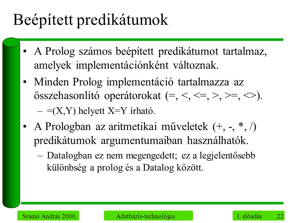 22 Sramó András 2000. Adatbázis-technológia I. előadás Beépített predikátumok A Prolog számos beépített predikátumot tartalmaz, amelyek implementáción