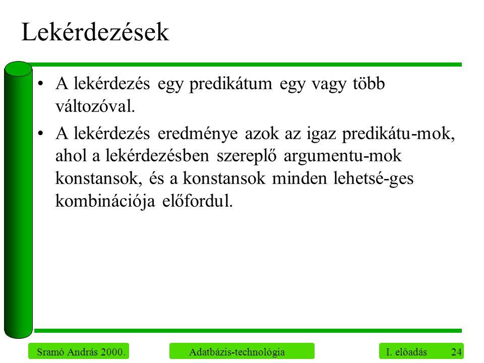 24 Sramó András 2000. Adatbázis-technológia I. előadás Lekérdezések A lekérdezés egy predikátum egy vagy több változóval. A lekérdezés eredménye azok