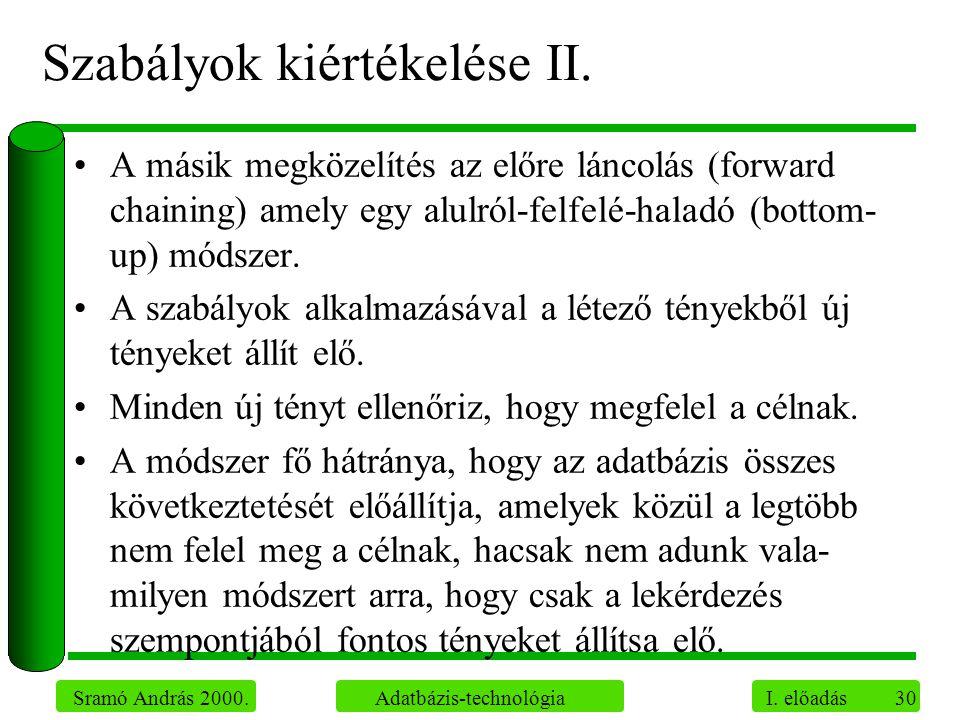 30 Sramó András 2000. Adatbázis-technológia I. előadás Szabályok kiértékelése II. A másik megközelítés az előre láncolás (forward chaining) amely egy